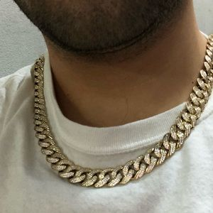 "Men's 14k Miami Cuban iced out choker 20"" Set"